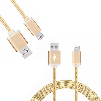 FX Braided iPhone USB Data Cable - 1m - Gold