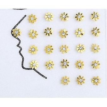 925 Plata esterlina Vintage Rhinestone oro nariz de sol anillos y pernos piercing