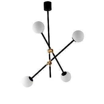 Globe Plafond hanger, Zwart, Goud, Opaal, E14