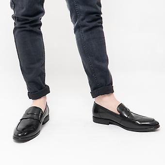 Steptronic Frost Mens Leather Loafers Black