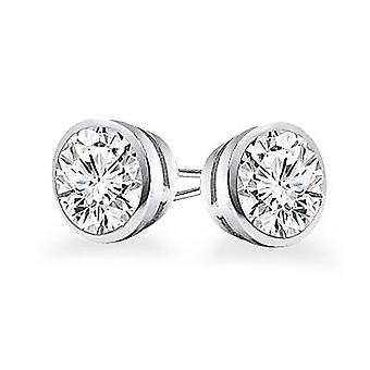 Boucles d'oreilles 14k Gold Bezel Set Round Cut Diamond Stud 0.75 ct. tw.