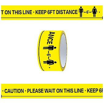 1roll - Please Wait On This Line, Keep 6ft Distance Floor Marking Tape
