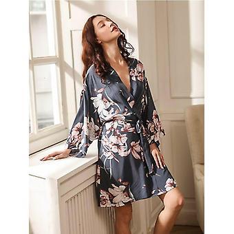New Ladies Silk Satin Thin Robe Comfort Fresh Style Floral Printed Sleepwear