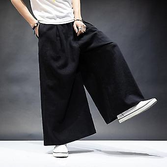 Bavlnená bielizeň široké nohavice Vintage Ležérne elastický pás vrecká športové nohavice Retro