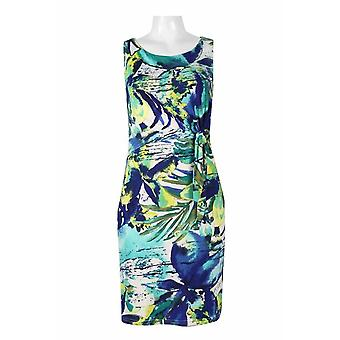 ermeløs slips side multi print jersey kjole