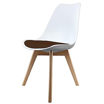Fusion Living Eiffel Inspired White And Chocolate Brown Plastic Dining Chair With Squared Light Wood Legs