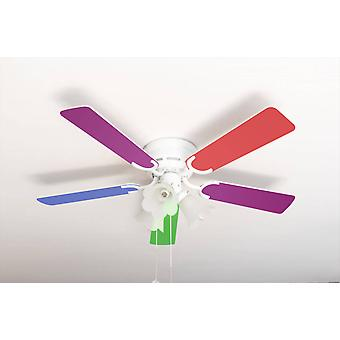 Ceiling fan Kisa Multicolor / White with lights