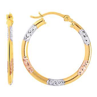 10k Tricolor valkoinen keltainen ja nousi kulta timantti leikattu pyöreä vanne korvakorut, halkaisija 20mm