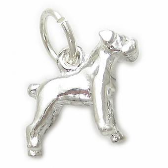 Boxer hund liten sterling silver charm .925 X 1 Boxers Hundar Charms - 4562