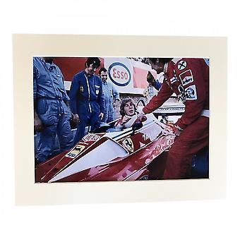 Larrini James Hunt In Laudas Ferrari A4 Mounted Photo