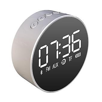 Portable tf card aux playback subwoofer speaker fm radio clock mirror display wireless blueto
