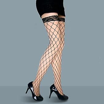 Summer Sexy Women's Ladies Net Lace Fishnet Thigh-highs Sheer Silk Hollow Plaid