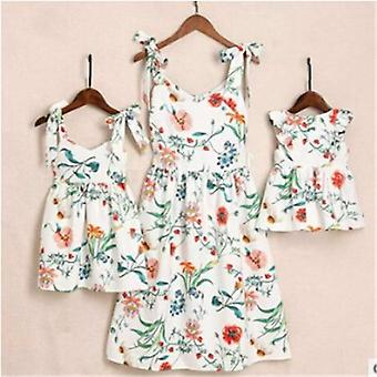 Summer Family Dress Mother And Daughter Matching Outfits Dresses Cotton Clothes