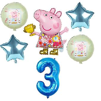 Cartoon Pig Foil Balloons Number Baby Helium Happy Birthday Party Room