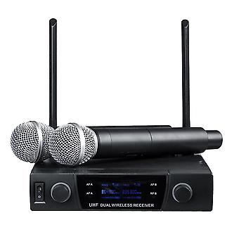 UHF 613-870MHz Professional Dual-channel Wireless Microphone System Karaoke Amplifier with 2 Handhel