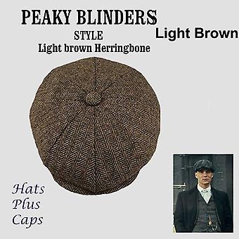 Wool Newsboy Caps - Men Herringbone Flat Caps