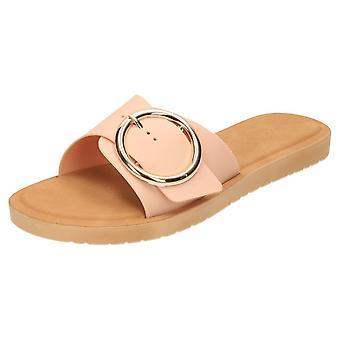 Krush Flip Flop Slider Open Toe Jelly Sandals Flat Nude