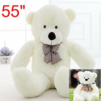 55'' Big Teddy Bear White Plush Soft Toys Doll Only Cover Case No Filled Gift