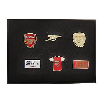 Arsenal FC Official 6 Piece Metal Football Crest Badge Set