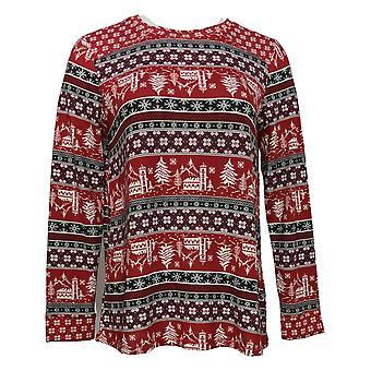 Cuddl Duds Femmes & s Petite Apres Ski Pyjama Top Rouge A381816