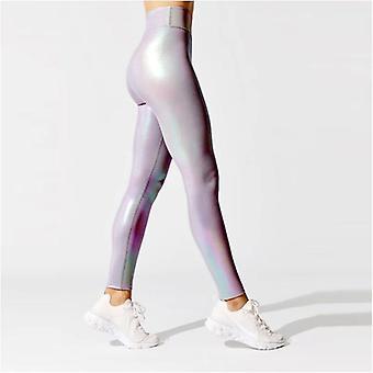Naiset Kiiltävä Urheilu Leggingsit, High Rise Stretchy Fitness Jooga sukkahousut