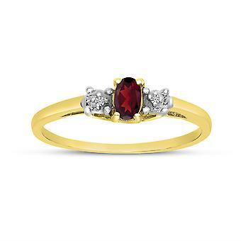 LXR 10k Gul Guld Oval Garnet og Diamond Ring 0,23 ct