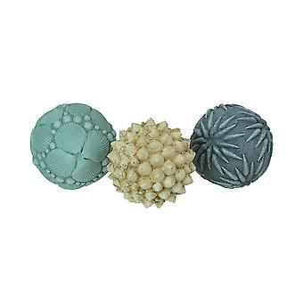 Set of 3 Resin Seashell Orb Accessories Decorative Table Balls Accent Decor