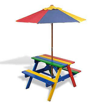 Kids Picnic Table with Benches, Table Set Wooden in Parasol Multicolour Outdoor Garden Furniture