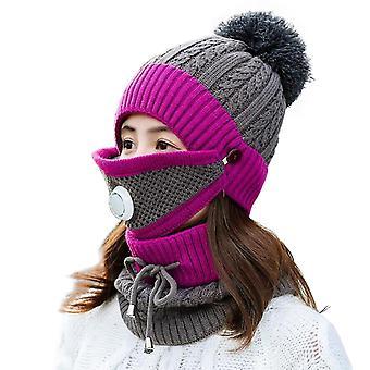 قناع وشاح الشتاء الرمادي الداكن مع صمام التنفس سميكة قبعة محبوك cai1153