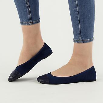 Shumo Velvet Ladies Soft Slip On Pumps Shoes Navy