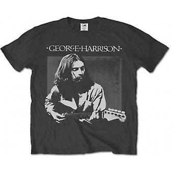 George Harrison Live Portrait Mens Charcoal T Shirt: X Large