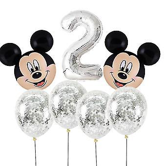 جديد silver2 ميكي ماوس رئيس على شكل عدد احباط البالونات لحفلة عيد ميلاد sm17146