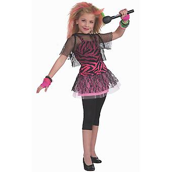 80-tallet Rock Star Jente Rosa Cyndi Madonna Retro Bok Uke Barnejenter Kostyme
