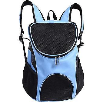 Bærbar Pet Messenger Taske Åndbar rygsæk Udendørs Rejsebærer (Blå)
