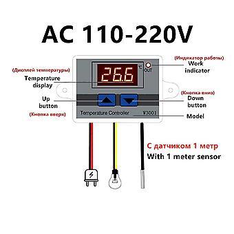 Xh-w3001 digital temperaturregulator termostat w3001 110v 220v 12v 24v termoregulator akvarium inkubator temp regulator