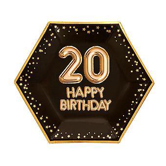 Glitz & Glamour Black & Gold Plate - Suuri - Ikä 20