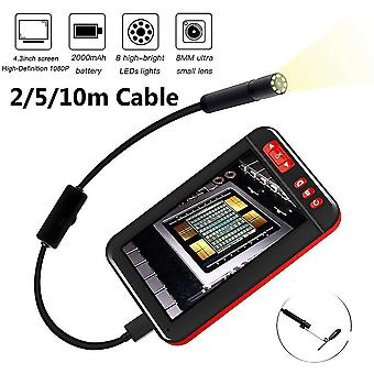 (hard 2m) 4.3 Inch Hd 1080p Industrial Endoscope Borescope Inspection Camera W/ 8leds F6n6-005