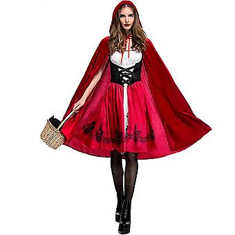 Women's Little Red Riding Hood Halloween Cosplay Costume Make Up Party Dress