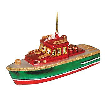 River Boat Blown Glass Christmas Holiday Ornament