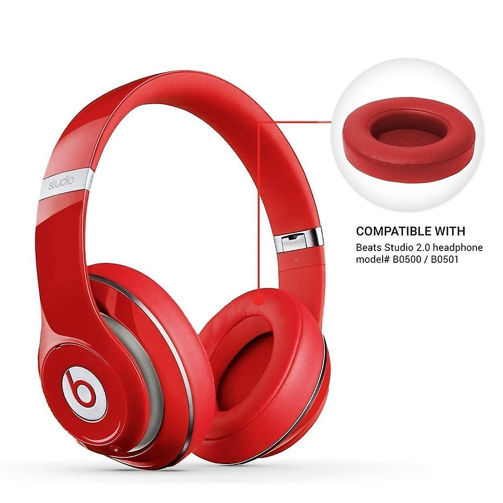REYTID Replacement Red Ear Pad Kit Compatible with Beats By Dr. Dre Studio 2.0 & Studio 2.0 Wireless Headphones Cushions
