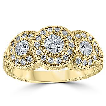 1 1 / 2ct antieke Diamond 3 stenen Ring 14K Yellow Gold