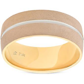 Mens 8mm två Tone bröllop Band 14K guld ny Ring