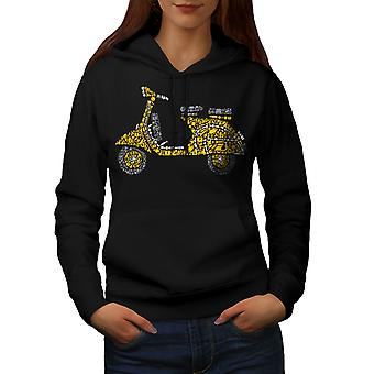 Motorbike Scooter Biker Women BlackHoodie | Wellcoda