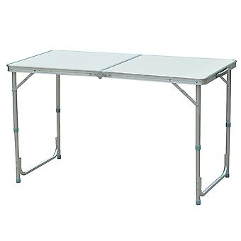 Outsunny 4 ft Outdoor Garden Aluminium Portable Folding Camping Picnic Party Field Kitchen BBQ Table - White