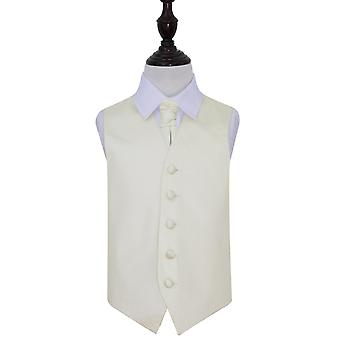 Ivory Plain Satin Wedding Vest & Cravat Set voor Jongens