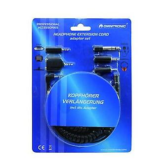 Omnitronic Cinch Adapter [1x Jack plug 3.5 mm - 1x Jack plug 6.35 mm, Jack plug 2.5 mm] 5.00 m Black