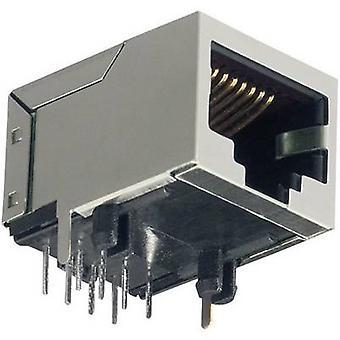 8P8C van BKL elektronische RJ45 gemonteerd Sockets 8-polige RJ45-aansluiting, rechte hoek grijs