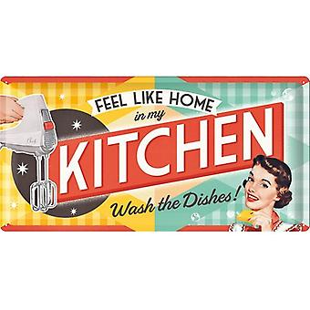 Feel Like Home minun keittiö suuri kohokuvioitu teräs allekirjoittaa 500 Mm X 250 Mm