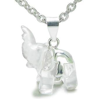 Brasilianske Crystal heldig elefant Rock kvarts beskyttelse krefter Amulet Charm anheng halskjede