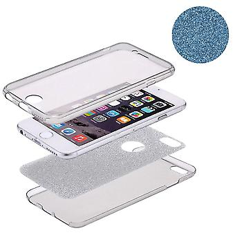 Crystal Case cover per Apple iPhone 7 caso Blau completo corpo glitter